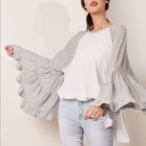 Free People Bell Sleeve Baseball Tee Large